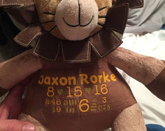 Custom birth stuffed animal keepsake