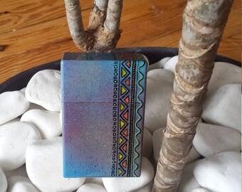 Geometrik cigarette pack cover case, handmade, hand made, worn package, creation, original, cigarette case, case, gift, gift