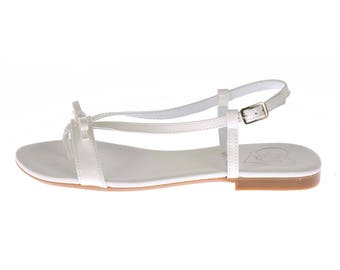 Low Heel Thong Sandal White