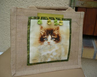small burlap bag decorated with a sticker fabric pattern kitten