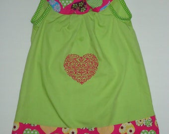 DRESS MY VALENTINE BABY COTTON LIME GREEN AND HOT PINK