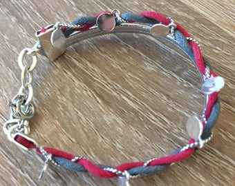 Pink and silver braided child bracelet