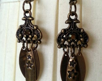 Earrings bronze beads, sequins and dishes