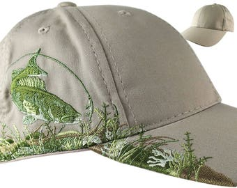 Custom Personalized Walleye Large Embroidery on Adjustable Full Fit Beige Baseball Cap Front Decor Selection with Options for Side and Back