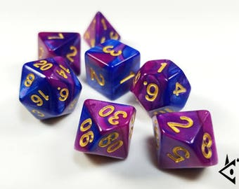 """DnD Dice Set Purple Blue Gold """"Unicorn Sunset"""" Polyhedral dice Pretty Rpg D&D dice Dungeons and Dragons Pathfinder Critical Role Roll D20"""