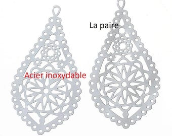 Set of 2 pendants prints filigree 30 x 16 mm stainless steel