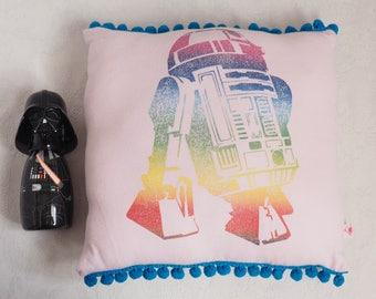 Cushion R2D2 pink blue Pompom