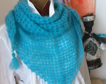 Nice lightweight ultra turquoise crochet shawl scarf