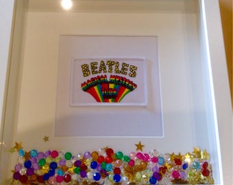The Beatles Magical Mystery Tour 3d shadow box picture embroidered, embellished, crystals.