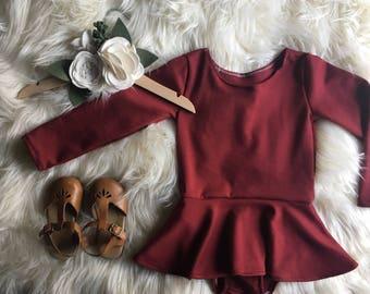 Burgundy Leotard - Leo Dress - Twirl Dress - Vintage Fall Leotard Dress - Girls/Toddler Leotard