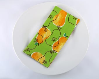 Reversible Cloth Napkins--Pears on Green (Everyday Napkins, Reusable Napkins, Casual Dinner Napkins, Lunchbox Napkins) Set of 4