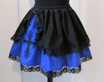 Embroidered skirt black and Blue Cross