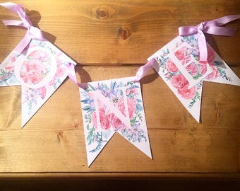 Birthday Bunting - Watercolour Floral Birthday Bunting Personalised Name Room decor