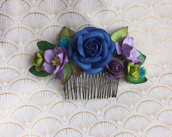 Large peacock wedding hair comb (purple, blue, green, and turquoise)