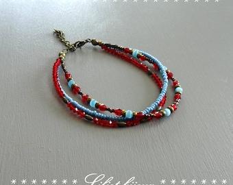 Bracelet ethnic beaded red and bronze