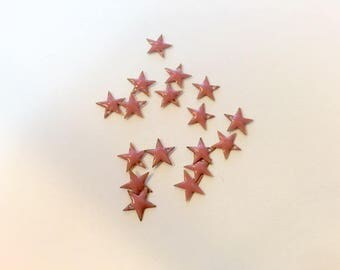 10 enameled star charms 8mm pink for creations of jewels