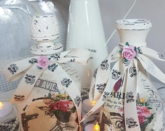 Pair of Paris themed shabby chic decoupaged upcycled glass  decanter and vase