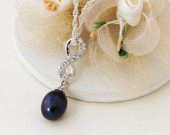 Infinity Pearl Drop Necklace, Sterling Silver Pearl Necklace, Simple Pearl Jewelry, Egg Plant Pearl Necklace, Dark Purple Bridal Necklace