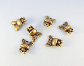 Bronze rabbit charms / 6 pcs 3D bunny rabbit charms / for jewelry making and crafts