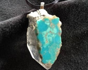 Quartz and turquoise  pendant
