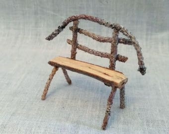 Fairy Miniature Rustic Bench With Tree Twigs from Various Trees And Bushes
