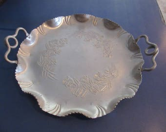 Silver Serving Tray with Roses