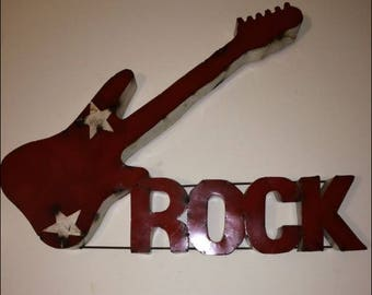 Recycled Metal Art Rock Guitar Wall Decor
