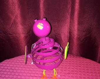 "Metal Pink Bouncing Bird - 12"" Tall"