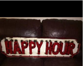 Recycled Metal New Happy Hour Sign