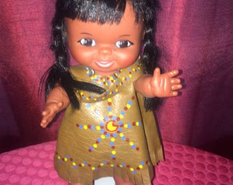 """Doll - Vintage Reliable Doll Canada Native American Indian Vinyl 11"""""""