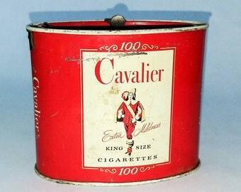 Cavalier King Sized Cigarette Tin / 1950s//Vintage//Retro//Mad Men