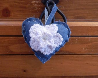heart hanging in denim and white flower