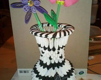 Vase and flowers 3d origami