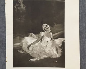 Lavery. The death of the white swan. (Anna Pavlova) 1920's antique print