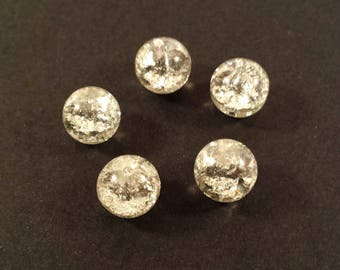 Set of 10 silver Crackle effect (Ref.107)