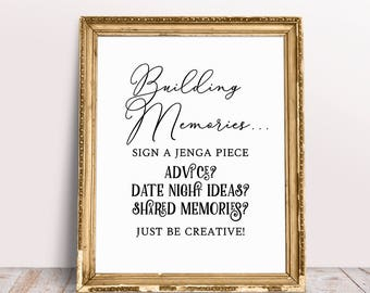 Jenga Guest Book, Wedding Signs, Jenga Guest Book Sign, Jenga Wedding Sign, Jenga Sign, Build Memories Sign, Wedding Advice Jenga Sign