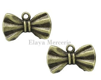 x 2 metal bow charms bronze