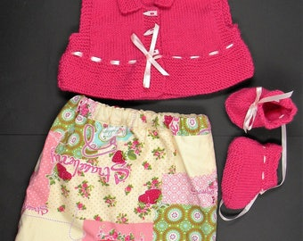 baby set knitting and harem pants in floral cotton and wool slippers