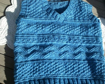 Sleeveless Wool Sweater knitted by hand 5/6 years old blue jeans