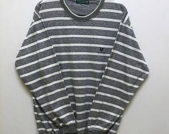 Rare!!! Lyle & Scott Long Sleeve Pullover Spellout Small Logo Embroidered Stripes
