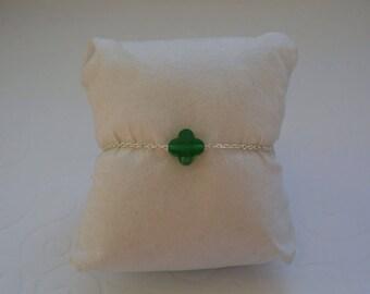 Emerald Green clover bracelet on silver chain.
