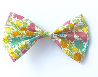 Barrette node in liberty fabric Poppy and daisy yellow