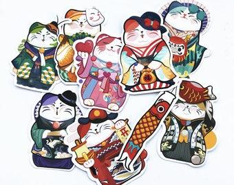 Lucky Cat Vinyl Stickers Pack (x9) - Good Luck Charm - Maneki Neko - Decal - Kitty - Japanese Style - Talisman