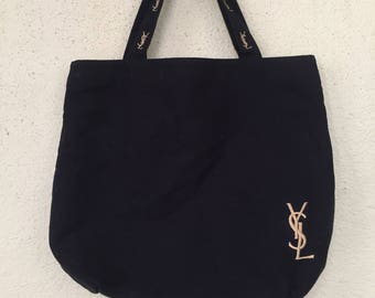 RARE Yves Saint laurent tote bag/ YSL toted bag/ embroidered YSL