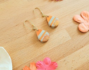 """""""Earrings"""" drop concrete """"copper and gold"""