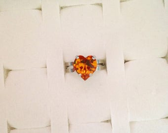Adjustable ring set with a Topaz Swarovski Crystal heart