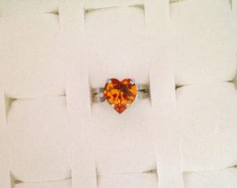 Adjustable ring set with a Topaz Swarovski Crystal heart