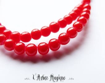 20 round 4 mm red glass beads