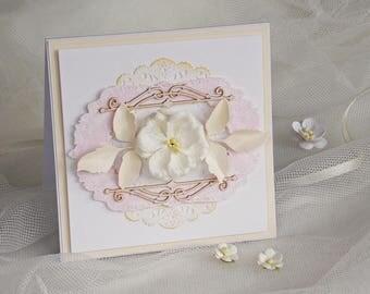 Handmade Wedding Invitations, pink wedding invitation, flower wedding invitation (KW3)
