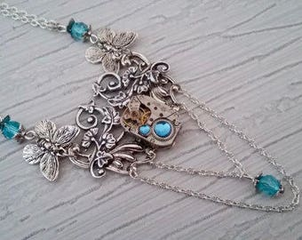 Floral steampunk pendant necklace